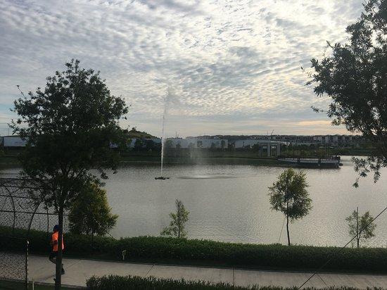 lake fountain daytime