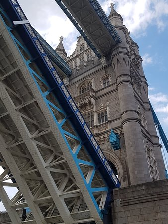 Passing under Tower Bridge on the Thames