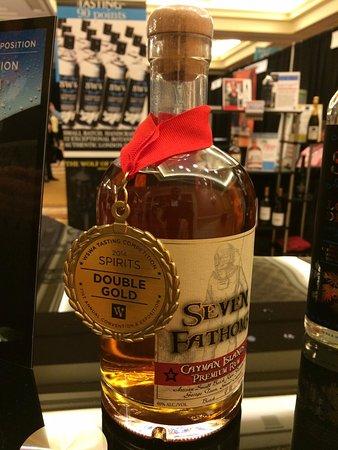 Award winning Seven Fathoms Rum, Cayman's locally artisan distilled spirts, aged at seven fathoms (42 feet) in the ocean