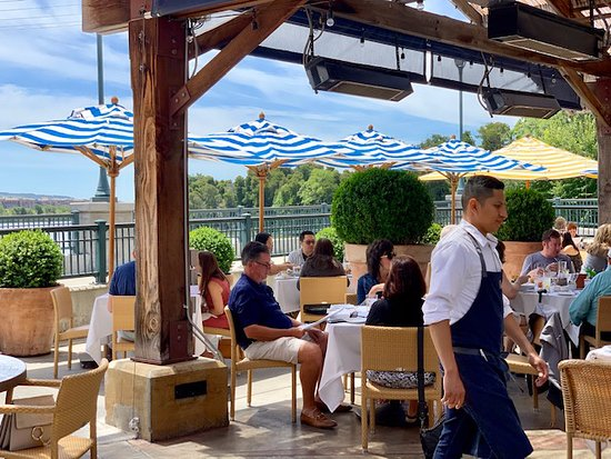 Angèle Restaurant and Bar: Terrace above Napa River is a great place to brunch