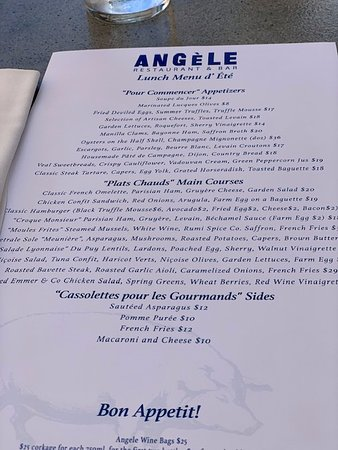 Angèle Restaurant and Bar: The lunch menu