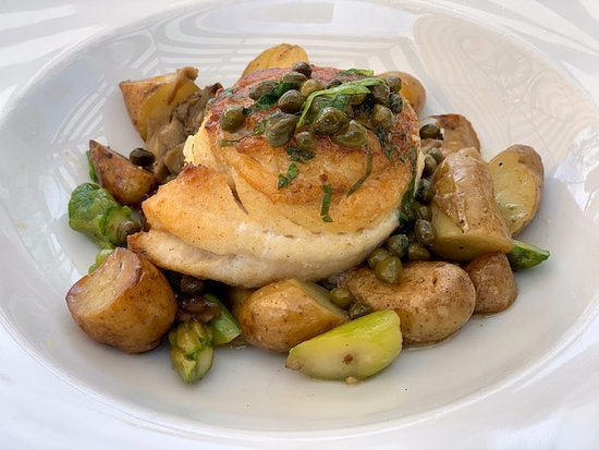 Angèle Restaurant and Bar: Yummy pertrale sole with cappers, brown butter, baby potatoes, and mushrooms