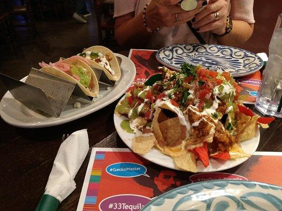Tacos and chicken nachos