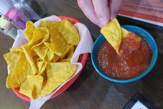 Tasty chips and salsa. Entrance, El Rincon, Pflugerville, TX.