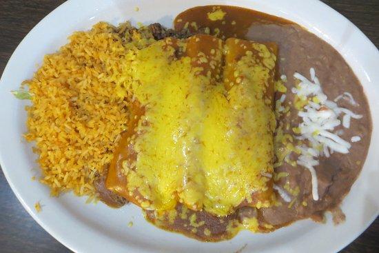 Beef enchiladas with rojo sauce, El Rincon, Pflugerville, TX.