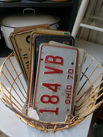 Vintage license plates from several states. Even saw a couple from the early 1900's and two matching ones from the Worlds Fair!