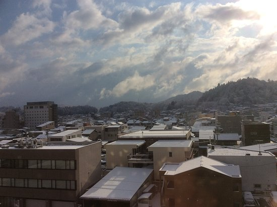 View of Takayama-Shi from our room after it snowed during the night.