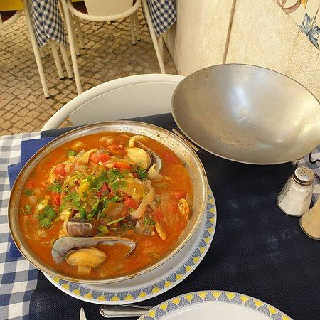 Portuguese fish stew with potatoes in a tomato sauce - very tasty.