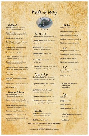 Our regular menu! We also have a wonderful selection of daily specials!