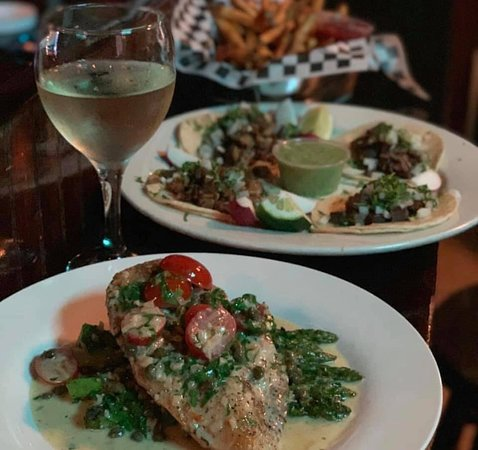 Frank Mac's Pub: From our menu: Asparagus Garlic Chicken, Tacos and Fries