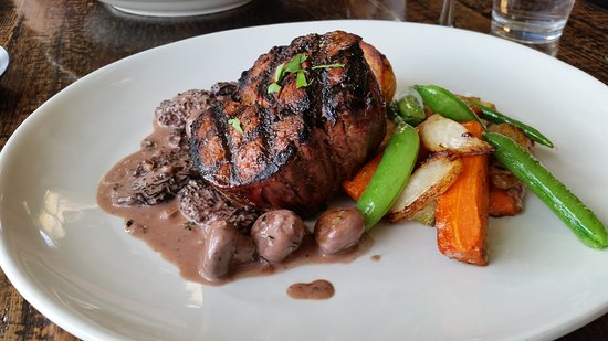 Filet Mignon in a Morel Sauce with Potatoes and Roast Veggies