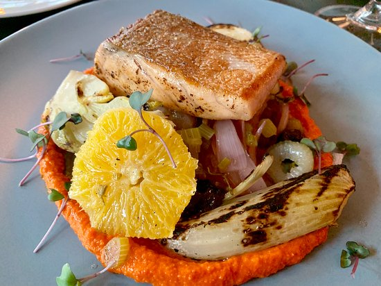 Accords bistro: Salmon on roasted vegetables.
