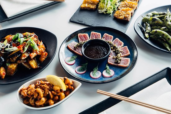 Inamo Soho: Tuna Tataki with Salsa Verde - Seared black pepper tuna served with salsa verde, fresh radish, and wasabi yuzu soy dressing. 8 pieces.