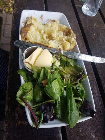 Microwaved potato. Very dry.