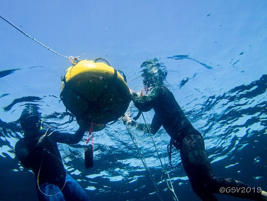 One of the buoys, the one for experienced divers.
