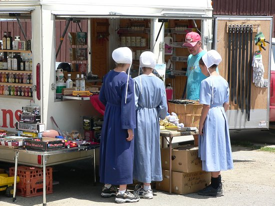 Amish at market in Kidron, Ohio