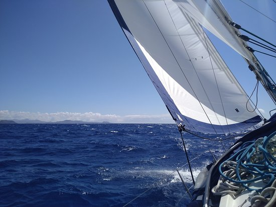 Sailing from Lanzarote back to Corralejo.