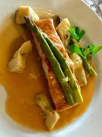 Salmon Pas-tina with Asparagus and Artichokes