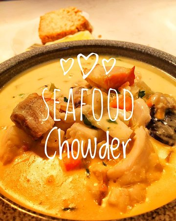 Seafood Chowder with homemade wheaten bread