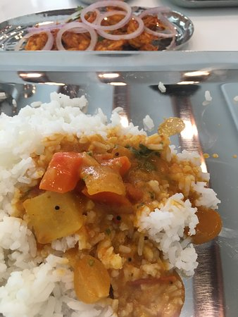 Sambar, rice and Prawns 65