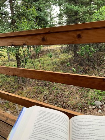 Reading on the deck, super peaceful