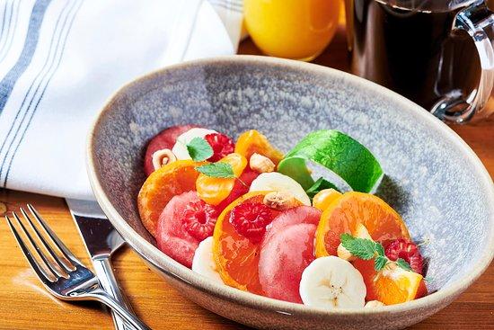 Orange and berry fruit bowl