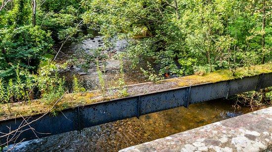 Gwersyllt, UK: View upstream from the old stone bridge