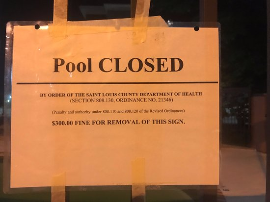Pool was apparently in rough enough shape to be closed by health department. Yikes!
