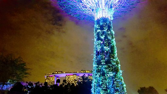 Saturday night Lights show at Gardens by the Bay with spectacular views of Marina Bay Sands