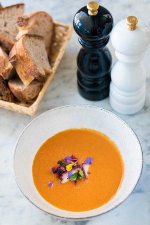 La Bottega Gastronomica: Cold melon–tomato soup with rhubarb and octopus