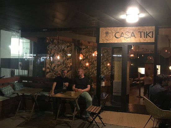 Sitting outside on warm weekday night enjoying the excellent cocktails at Casa Tiki