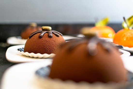 A homemade pastry with chocolate mousse.