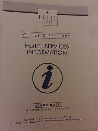 Grand Hotel Gosforth Park Newcastle: Hotel menu and coffee/tea making facilities
