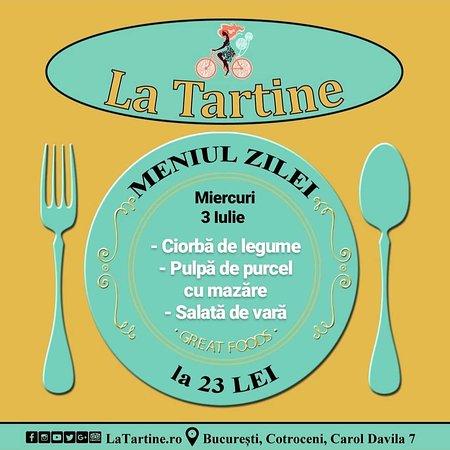 La Tartine Cotroceni: 🍴 De la ora 12:00 vă așteptăm #LaTartine #Cotroceni cu #MeniulZilei (#Miercuri, 3 #Iulie) la 23 lei: - Ciorbă de legume - Pulpă de purcel cu mazăre - Salată de vară  * în limita stocului disponibil P.S. Nu ratați cele mai delicioase #tartine si #FructeDeMare #LaTartineCotroceni #Bucuresti