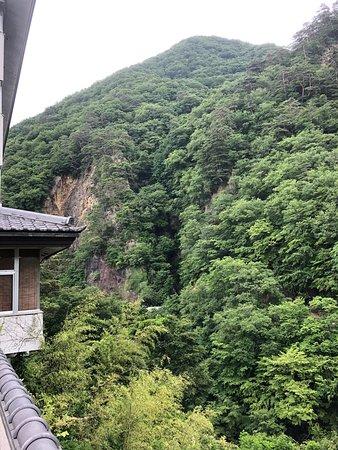 フロント右手…ガケにて下は渓流。部屋からはこの山眺め。