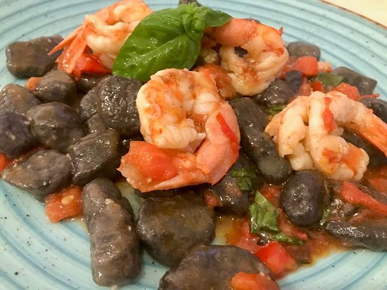 Gnocchi with Squid Ink with Prawns and Fresh Cherry Tomatoes by La Sosteria Gouvia Corfu