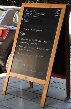 La Mezzanine: Carte des plats du jour