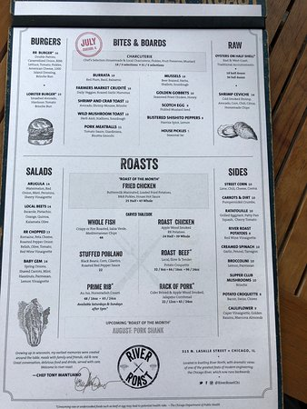 River Roast: Our menu