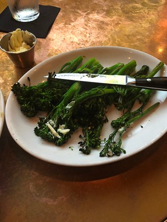 Plate of broccolini after being sent back for a reheat. Wasted as well.