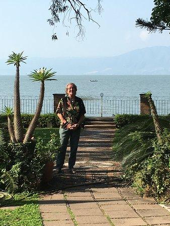 In the garden of La Nueva Posada, overlooking Lake Chapala