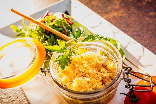 Restaurant La Chapelle: Parfait de légumes méditerranéens, mousse de Chèvre © Hervé Leclair/Aspheries.