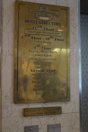 أوسكار سايجون هوتل: 2-10Fが客室、最上階がレストラン。 1Fにはフィットネスとスパがあります。