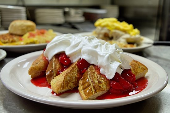 Stuffed french toast with strawberry topping