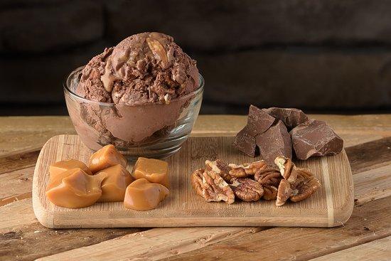 Water's Edge Chocolates, Inc.: Chocolate Ice Cream, Caramel, Pecans and Milk Chocolate.