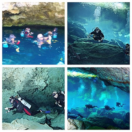 My daughter with Gustavo in a Cenote dive.