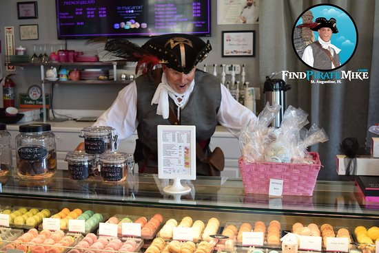 You don't want this Pirate behind the counter at le macaron! He may eat them all...stop # 8! If you have completed the map in order (not necessary) you can get your Treasure here!