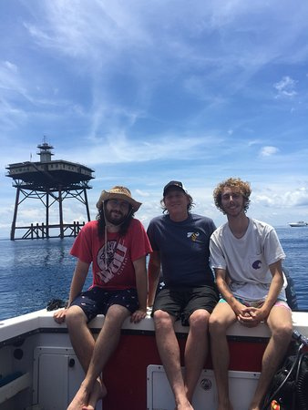 Dad and sons at Frying Pan Tower on the calmest day in memory.