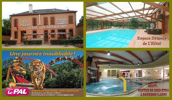 L'Hôtel des Voyageurs et son Espace détente. A proximité: -  le parc d'Attractions et Animaliers du PAL à Dompierre sur Besbre, - Celtô, spa, centre de bien-être et de détente à Bourbon-Lancy. Détente à