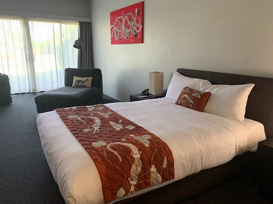 """Large bed in our """"smaller"""" room in the tail of the hotel"""