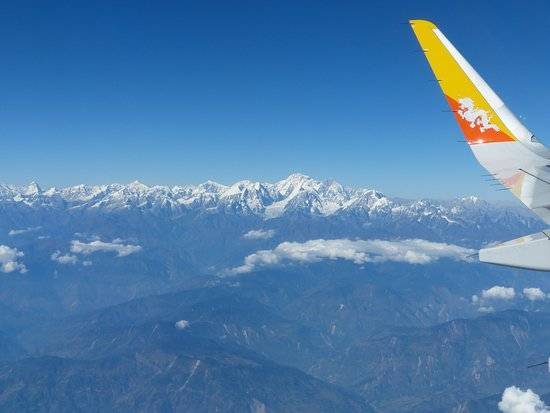 the flight from Kathmandu to Bhutan, over the Himalayas covered with eternal snow